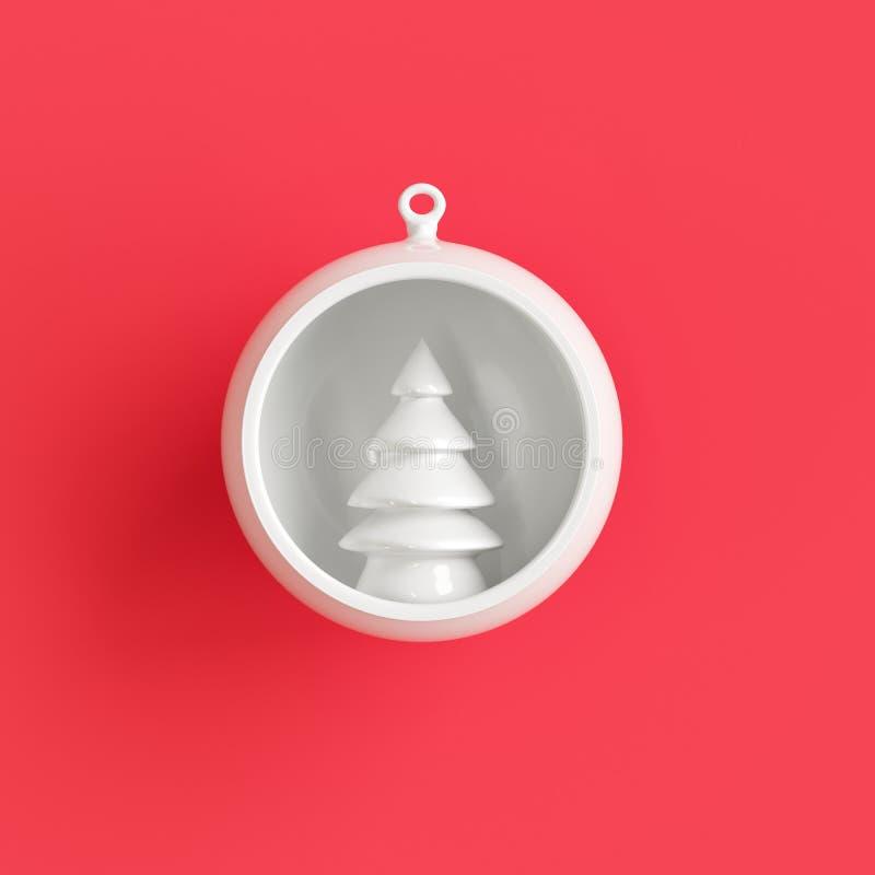 Ornamento blanco del árbol de navidad en el vidrio blanco del mercurio en fondo rojo libre illustration