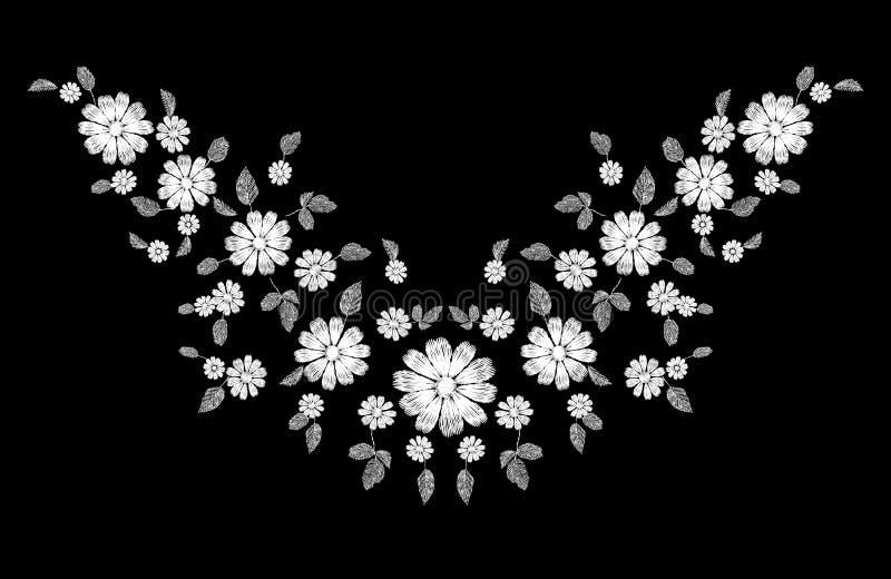 Ornamento blanco del escote del bordado de la flor del cordón Plantilla cosida decoración de la textura de la moda Margarita trad ilustración del vector