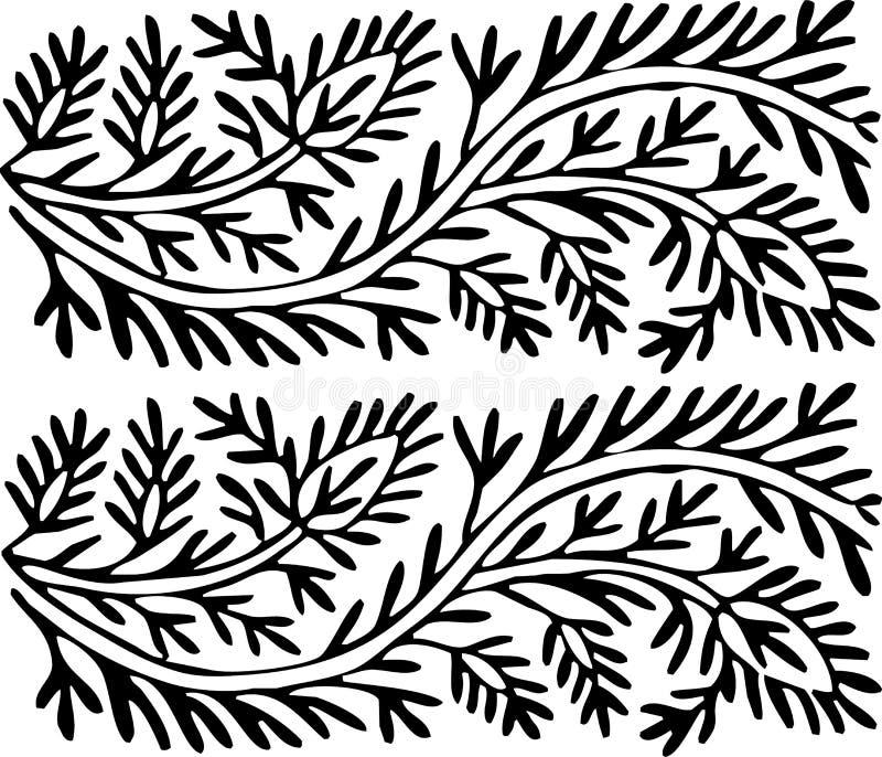 Ornamento blanco y negro de las hojas fotografía de archivo libre de regalías