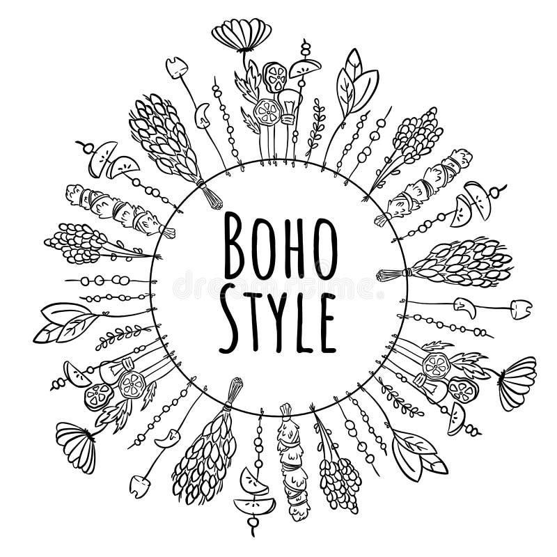 Ornamento blanco y negro del marco de la guirnalda del estilo de Boho libre illustration