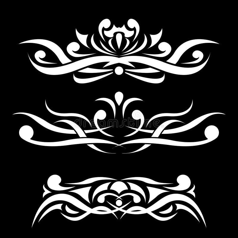 Ornamento blanco y negro Divisor decorativo stock de ilustración