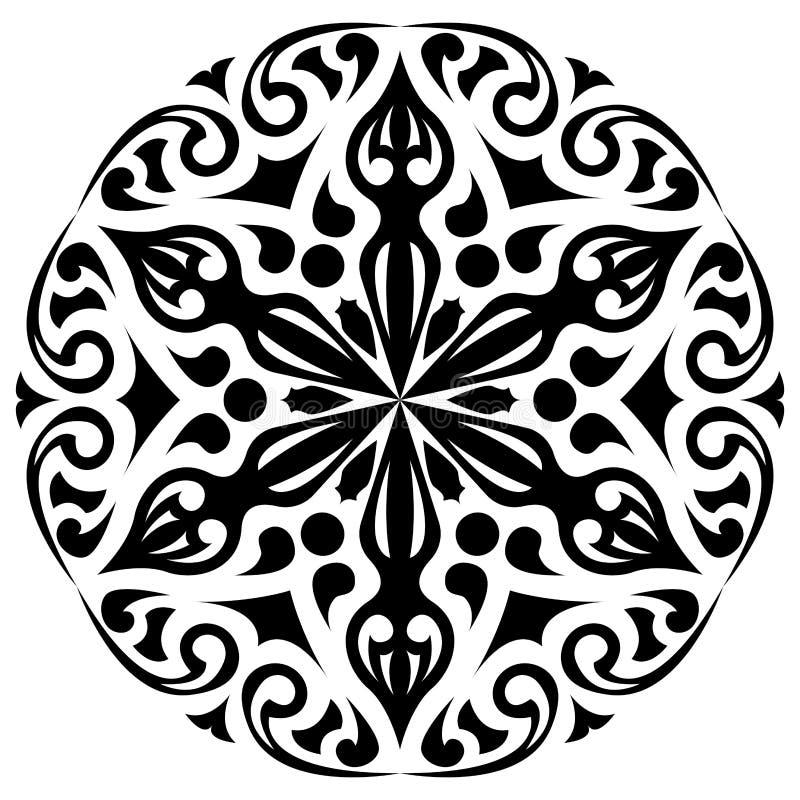 Ornamento blanco y negro redondo Decoración floral stock de ilustración