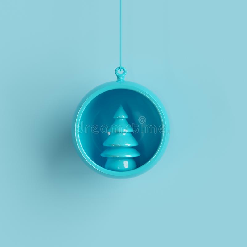 Ornamento blu dell'albero di Natale in vetro blu su fondo blu royalty illustrazione gratis