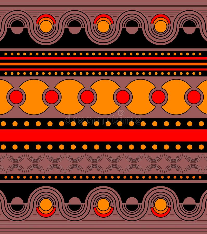 Ornamento brilhante na laranja, vermelha bonitos, e em cores pretas Ornamento horizontal simétrico nas fileiras com geométrico ilustração royalty free
