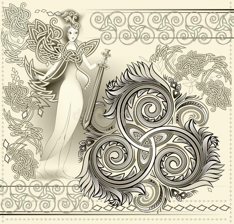 Ornamento céltico fantástico con símbolo espiral triple y la espada que se sostiene de hadas medieval antigua Deco gótico hermoso ilustración del vector