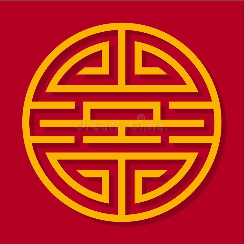 Ornamento chinês Teste padrão oriental Ornamento amarelo em um fundo vermelho ilustração royalty free