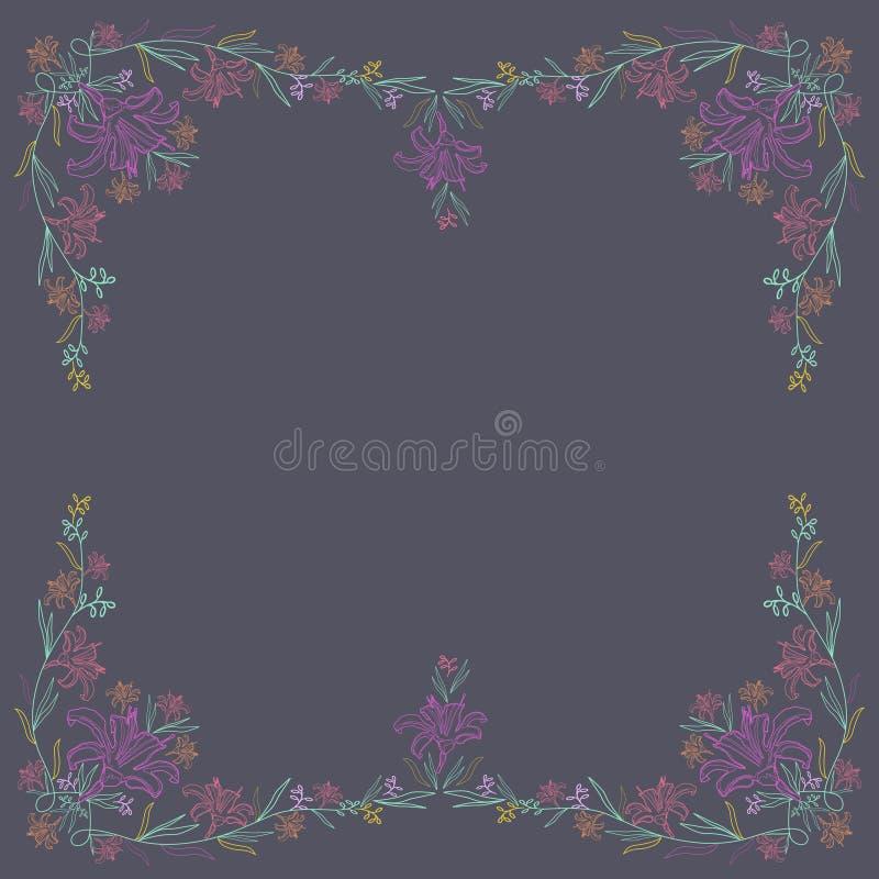 Ornamento a cielo abierto en el cuadrado con los lirios coloreados Ilustración del vector ilustración del vector