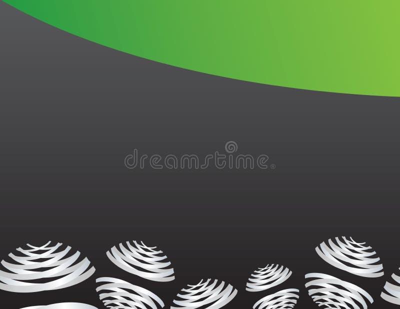 Ornamento cinzentos da bola no fundo preto e verde ilustração royalty free
