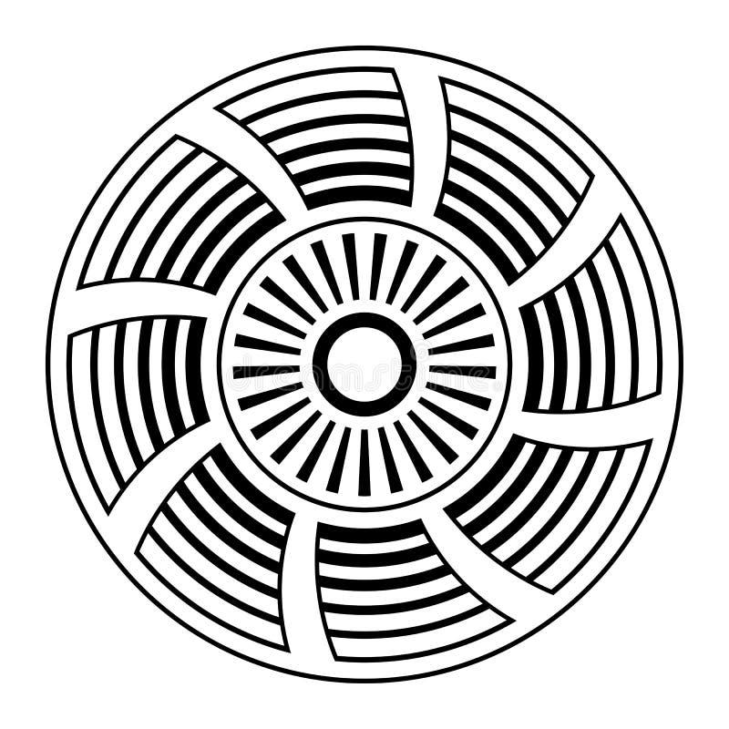 Ornamento circular abstracto Símbolo étnico aislado S?mbolo estilizado del sol Roset?n de elementos geom?tricos stock de ilustración