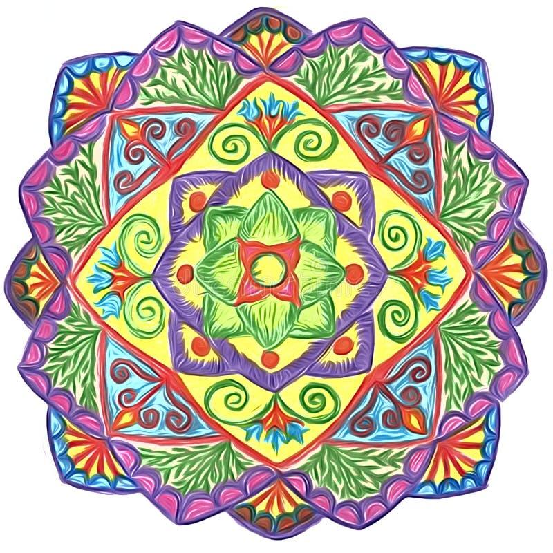 Ornamento circular desenhado à mão - mandala com elementos florais ilustração do vetor
