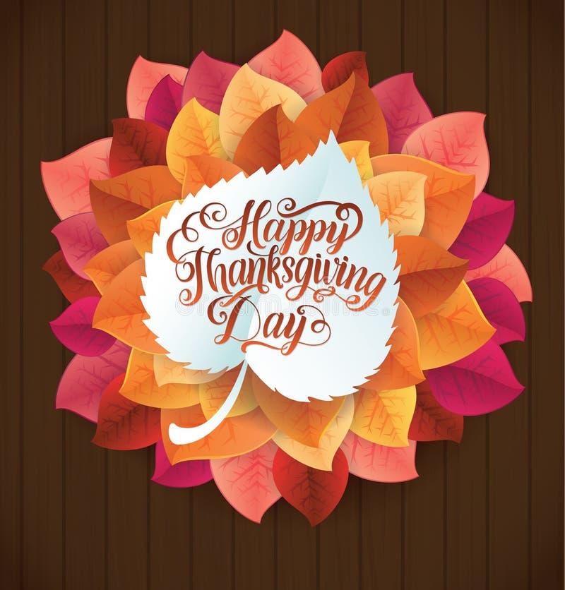 Ornamento circular do dia feliz da ação de graças feito das folhas na madeira ilustração stock