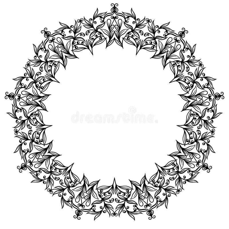 Ornamento circular floral, desenho preto e branco, colora??o da garatuja ilustração stock