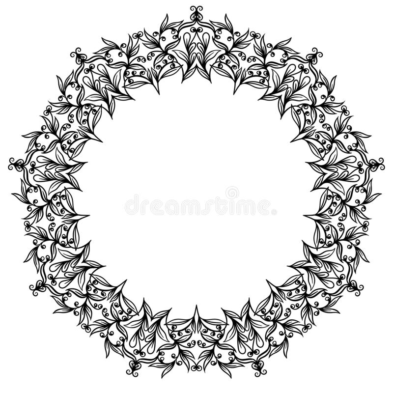 Ornamento circular floral, dibujo blanco y negro, colorante del garabato stock de ilustración