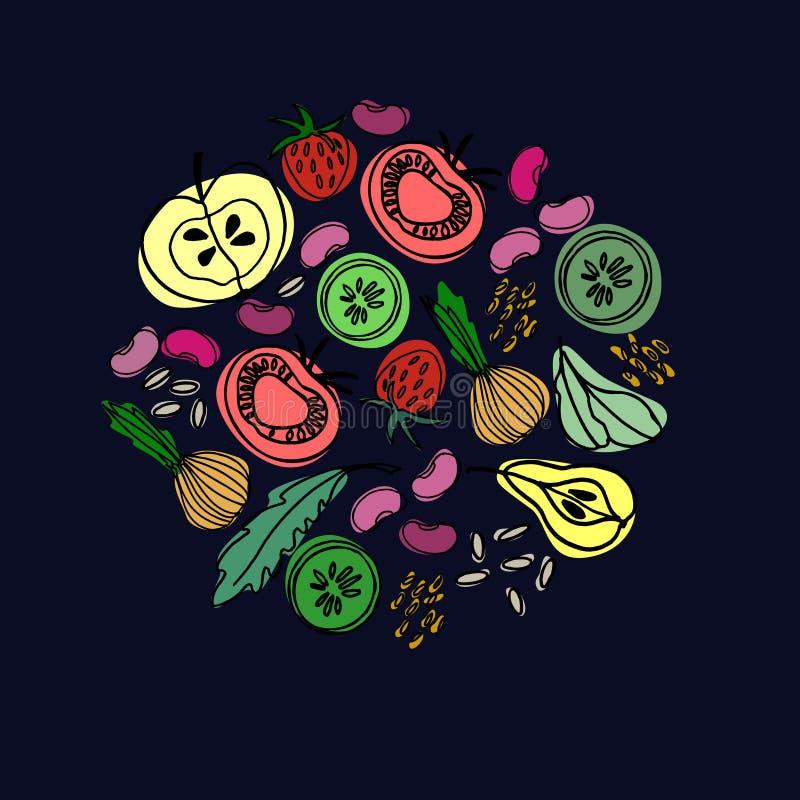 Ornamento circular tirado mão com frutas e legumes para o projeto de superfície, cartazes, ilustrações Tema saudável dos alimento ilustração stock