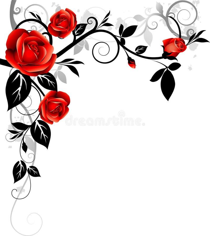 Ornamento com rosas ilustração do vetor