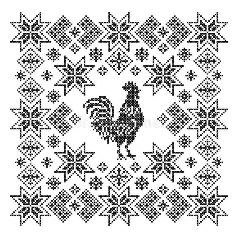 Ornamento con el gallo Puntada cruzada ilustración del vector