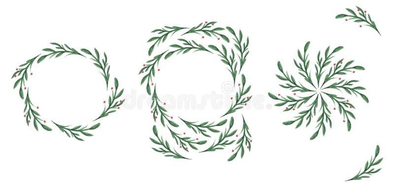 Ornamento con i rami verdi Corona per le carte immagini stock libere da diritti
