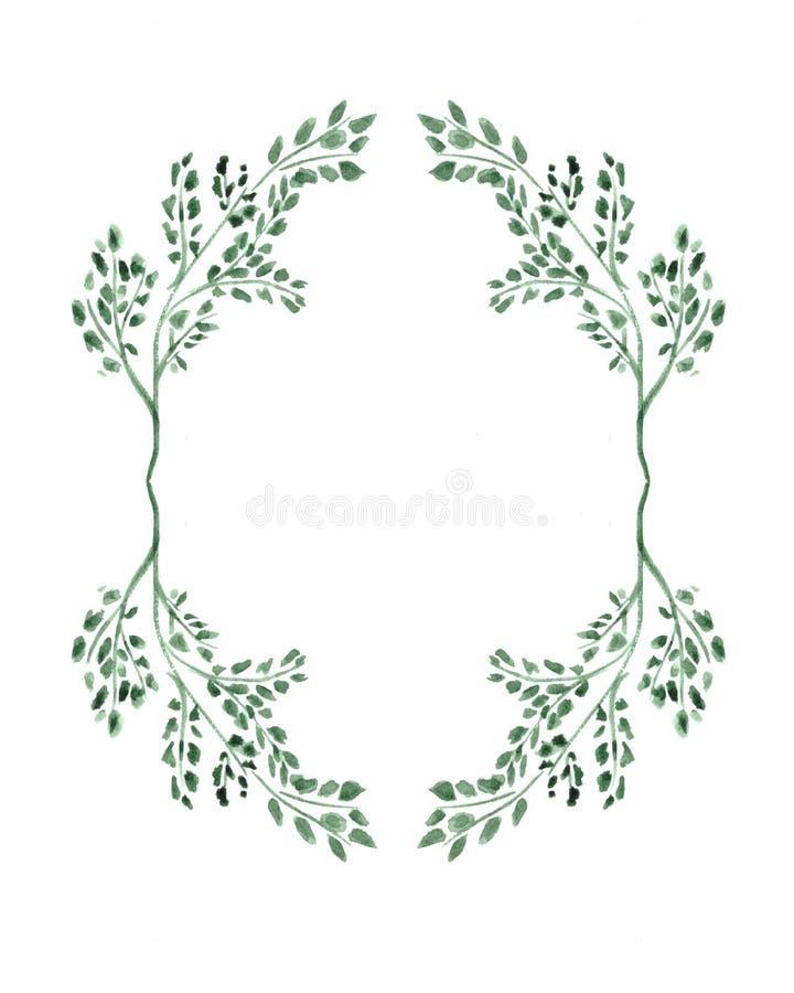 Ornamento con i rami verdi Corona per le carte fotografia stock
