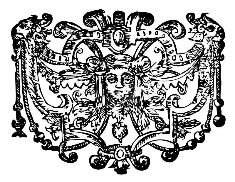 Download Ornamento Con Il Fronte Ed I Leoni Illustrazione Vettoriale - Illustrazione di faccia, fioritura: 3140782