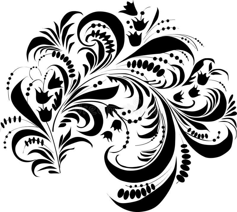 Ornamento con la hoja grande ilustración del vector