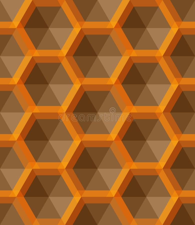 Ornamento con pequeños hexágonos amarillos, rejilla hexagonal, enrejado, tejas de la repetición libre illustration