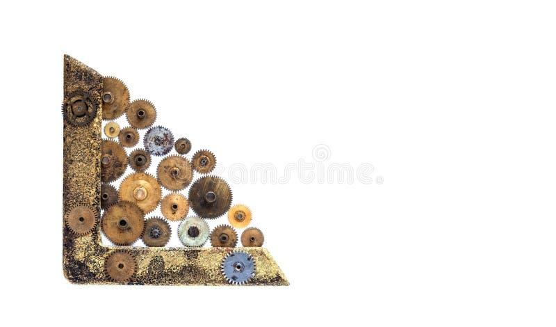 Ornamento d'angolo del retro steampunk di stile su bianco Confine bronzeo invecchiato con le ruote di ingranaggi dei denti Copi l fotografia stock libera da diritti