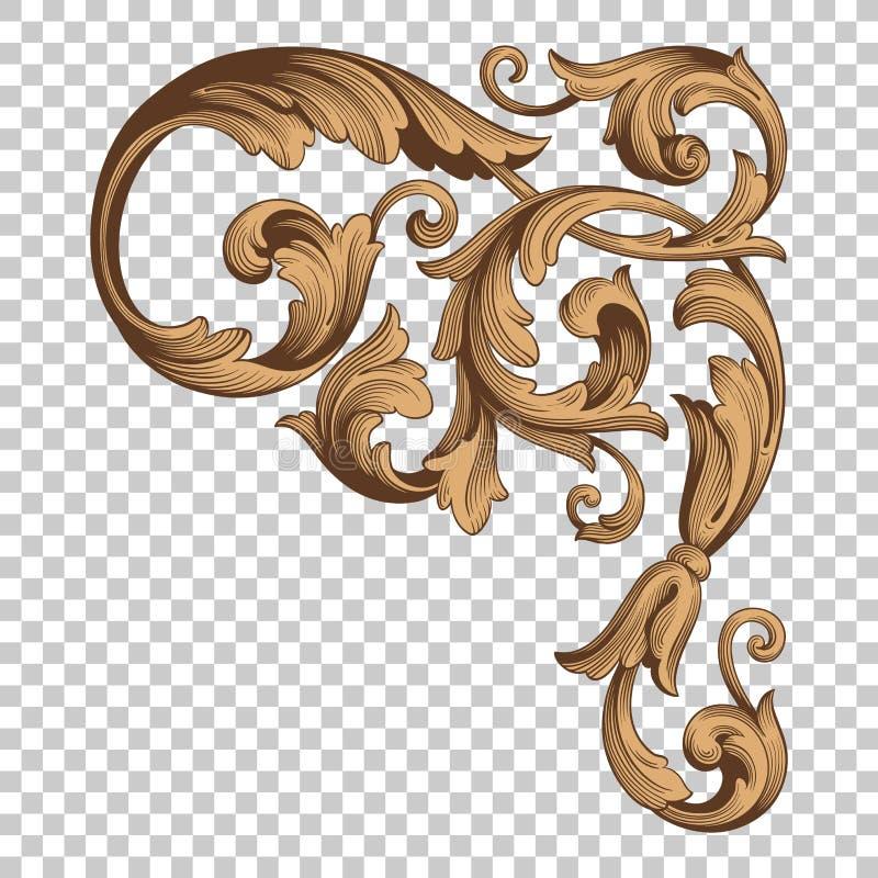 Ornamento d'angolo dell'isolato nello stile barrocco royalty illustrazione gratis