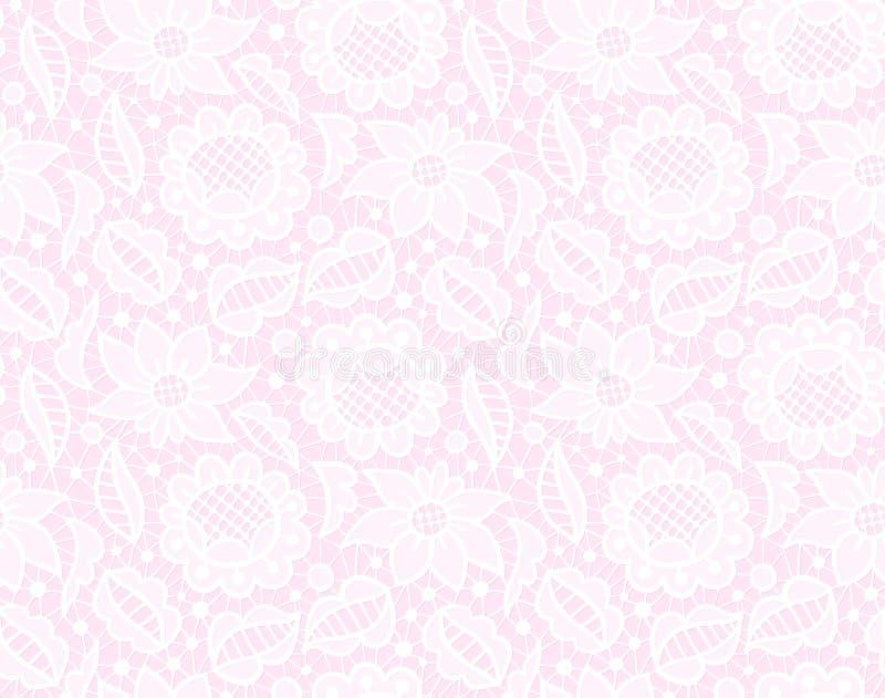 Ornamento d'annata del pizzo trasparente bianco, modello senza cuciture su fondo rosa illustrazione di stock