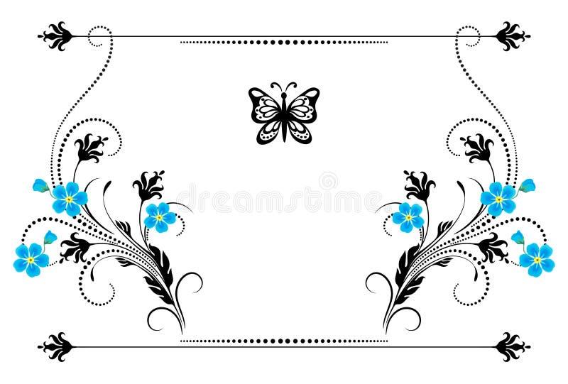 Ornamento d'annata stabilito con i fiori di myosotis, la struttura ed il divisore decorativo per la cartolina d'auguri illustrazione vettoriale