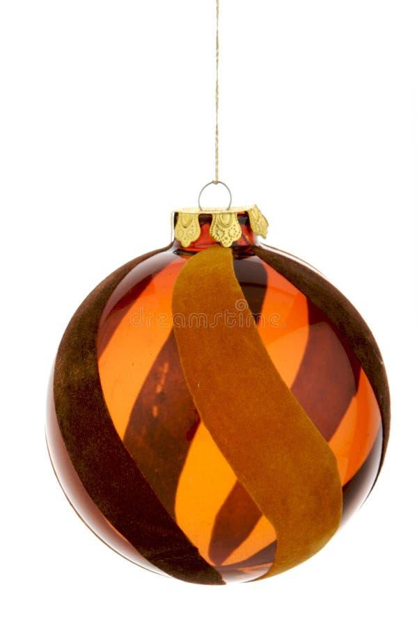 Ornamento d'attaccatura marrone di vetro di natale fotografia stock libera da diritti