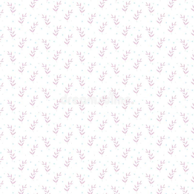Ornamento d'avanguardia del modello di minimalismo con la graminacee rosa ed i triangoli blu su un fondo bianco illustrazione vettoriale