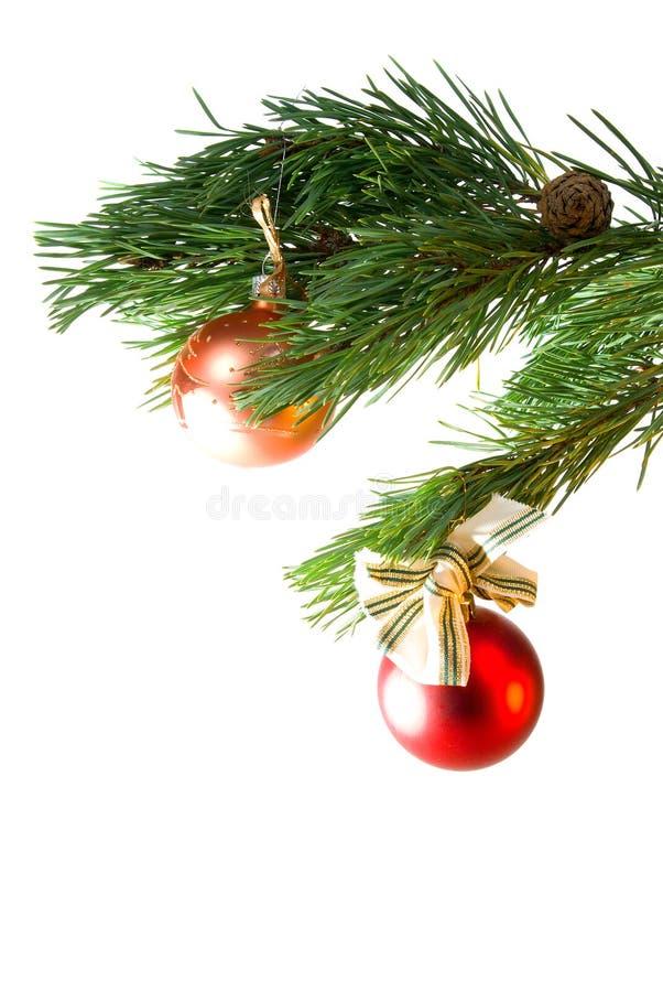 Ornamento da árvore de Natal, esferas da cor do wo fotografia de stock royalty free
