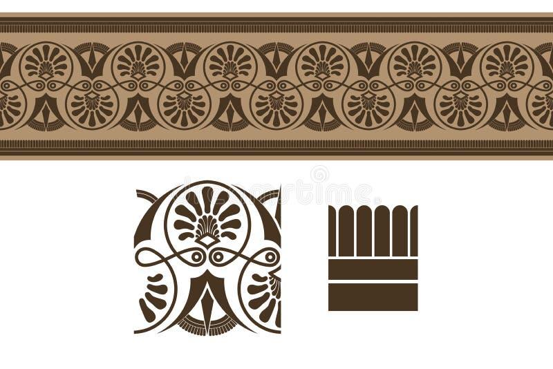 Ornamento da beira do grego clássico, ilustração do vetor