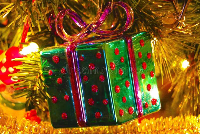 Ornamento da caixa de Natal fotos de stock