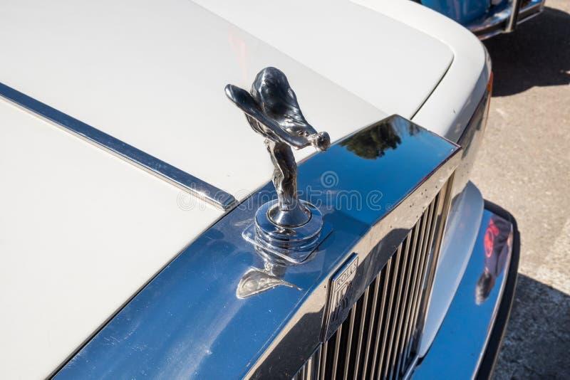 Ornamento da capa do carro de Rolls royce do vintage, apresentado na feira automóvel do oldtimer, Israel foto de stock royalty free