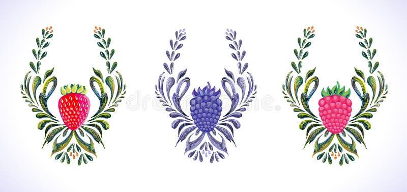 Ornamento da framboesa, da morango e da amora-preta ilustração stock