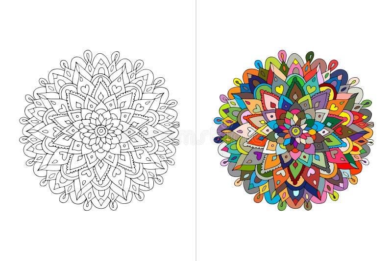Ornamento da mandala, esboço feito à mão para seu projeto ilustração stock
