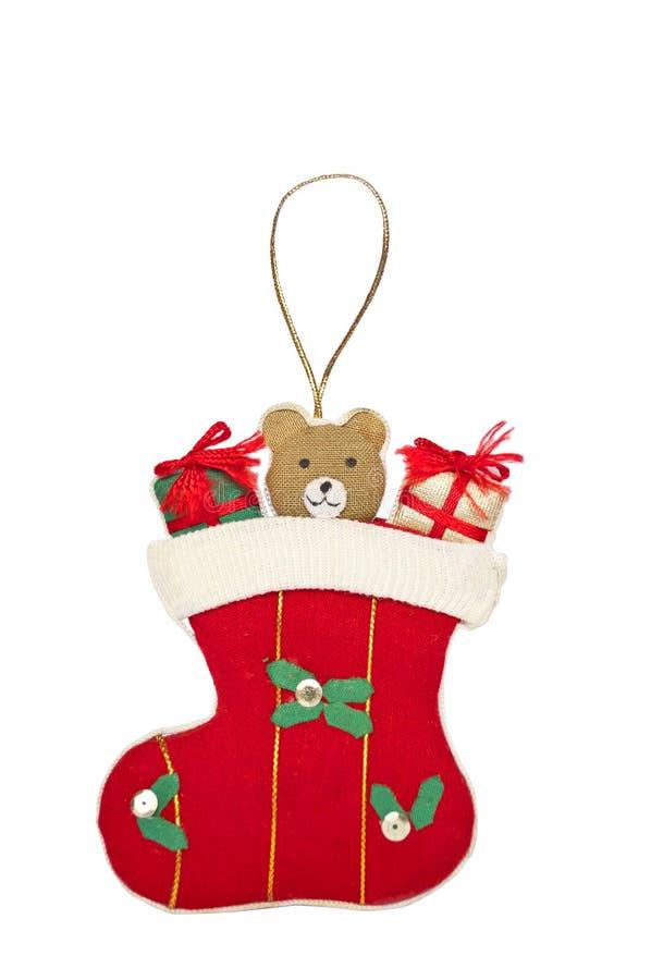 Ornamento da pe?ga do Natal isolado no branco foto de stock royalty free