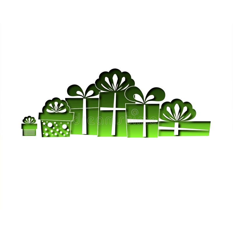 Ornamento dai contenitori di regalo verdi Progettato dal taglio del parer Vettore illustrazione di stock