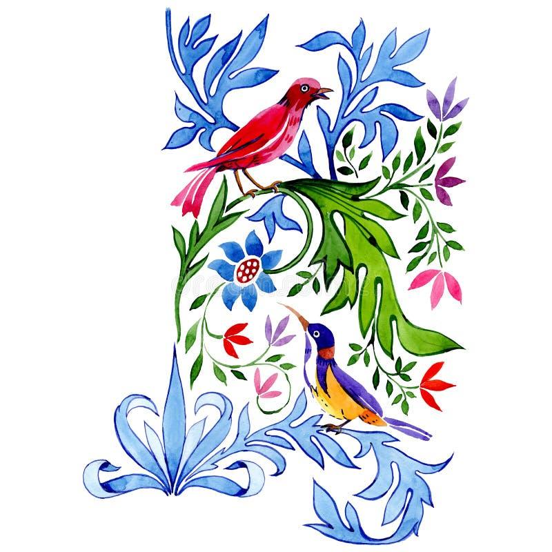 Ornamento das flores com pássaros Jogo do fundo da aguarela Elemento isolado da ilustração do ornamento ilustração stock