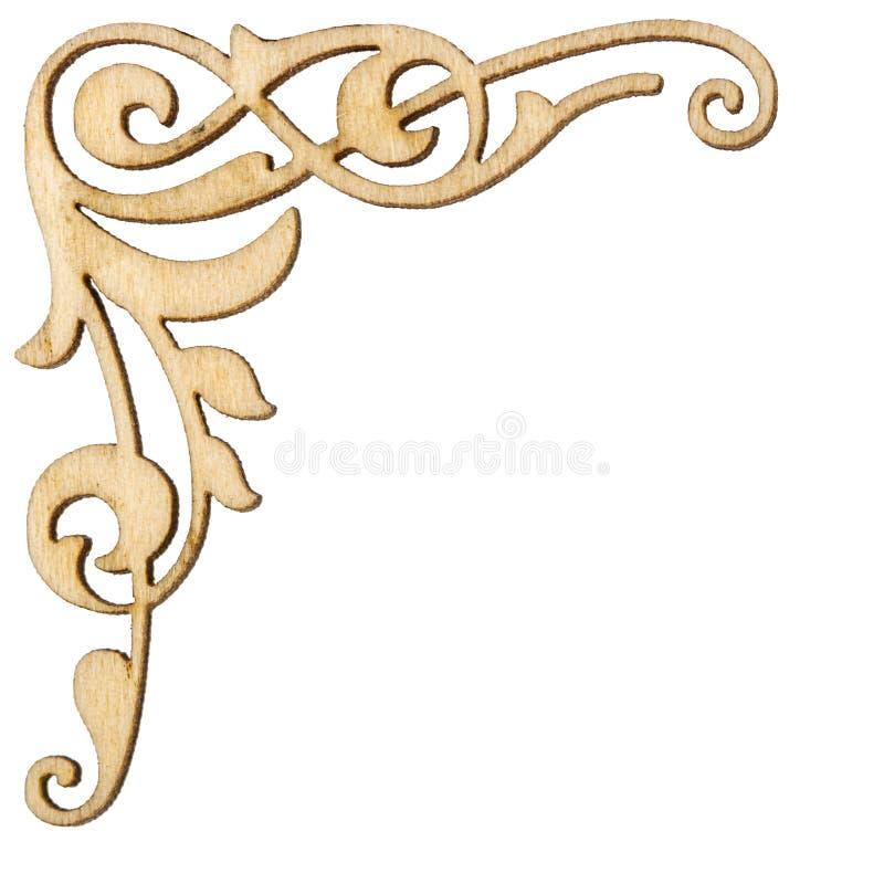 Ornamento de canto barroco do vintage de madeira, elemen decorativos do projeto fotografia de stock