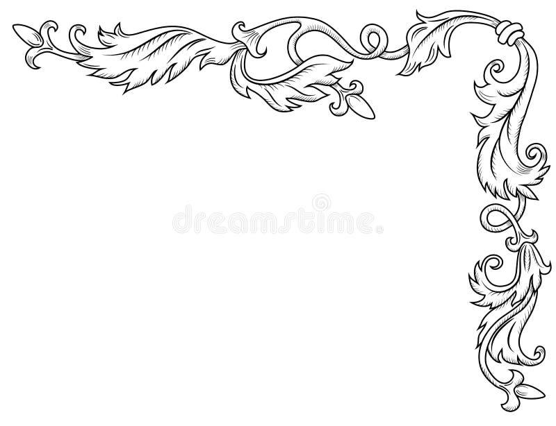 Ornamento de canto decorativo ilustração stock