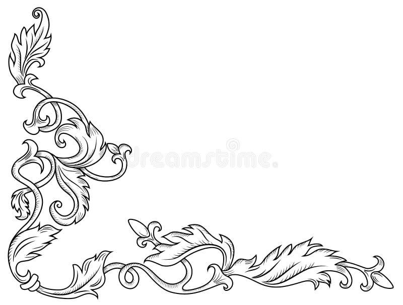 Ornamento de canto decorativo ilustração do vetor