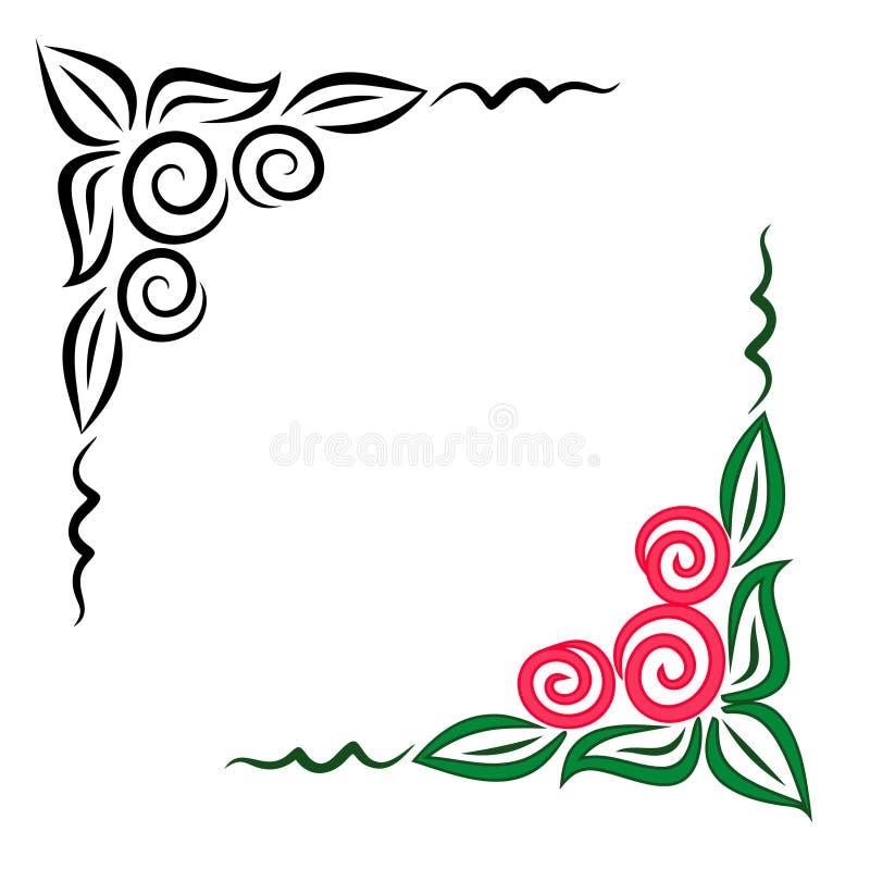 Ornamento de canto floral. JPG e EPS ilustração stock