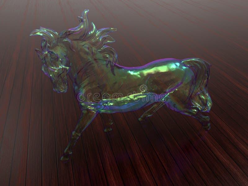Ornamento de cristal del caballo en un fondo de madera stock de ilustración