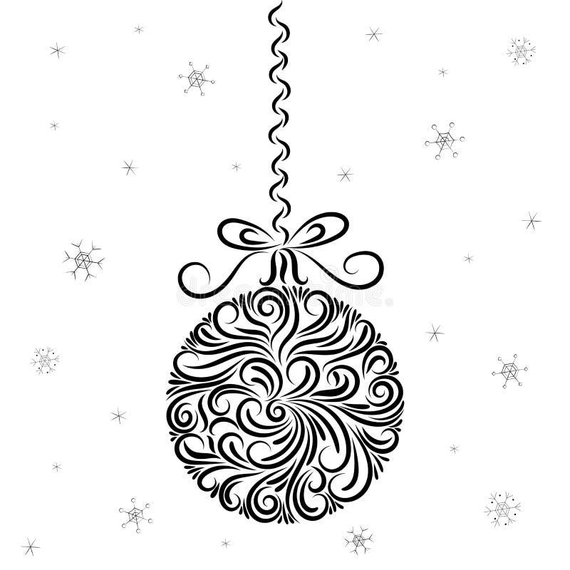 Ornamento de la bola de la decoración de la Navidad Invitaci?n del A?o Nuevo Enhorabuena celebraci?n Copos de nieve Estrellas tat stock de ilustración