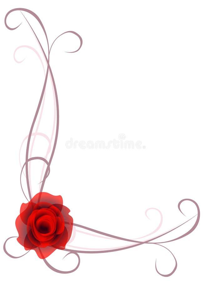 Ornamento de la esquina con una rosa roja en un fondo blanco stock de ilustración
