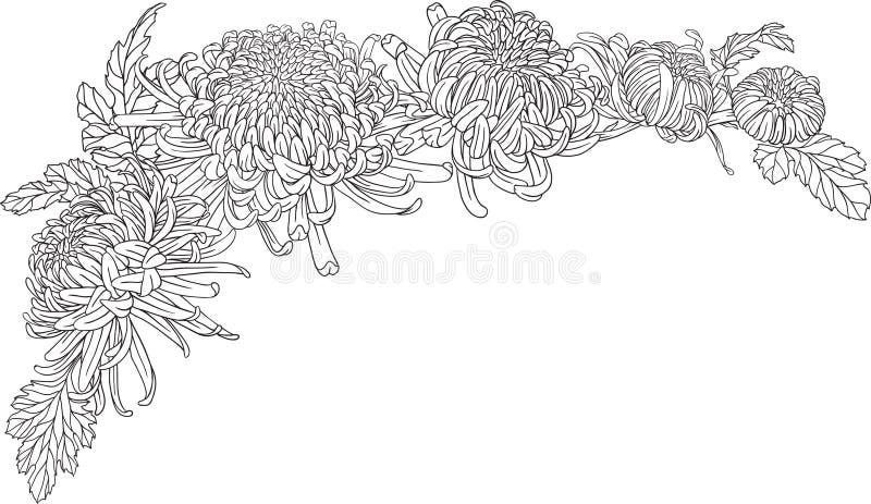 ornamento de la esquina de la flor del crisantemo stock de ilustración