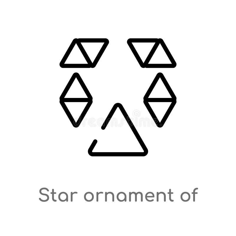 ornamento de la estrella del esquema del pequeño icono del vector de los triángulos l?nea simple negra aislada ejemplo del elemen libre illustration