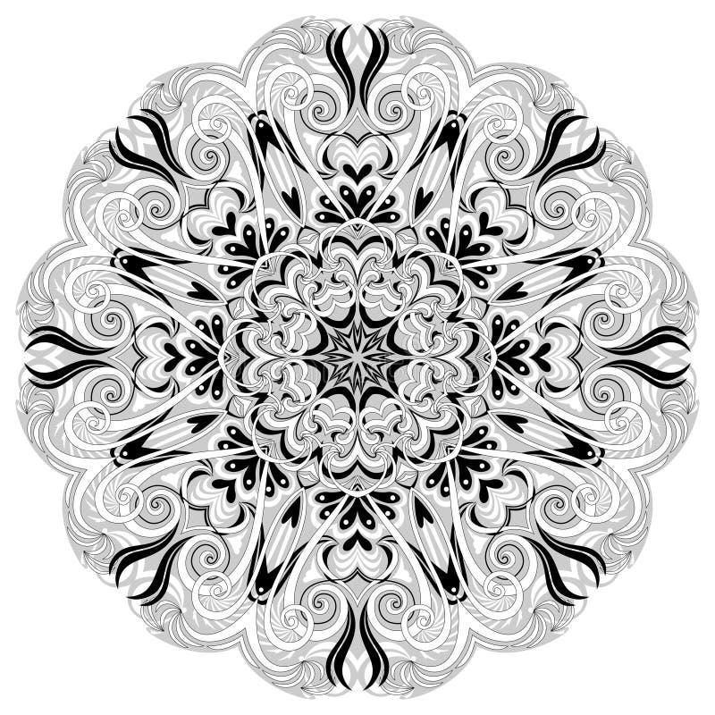 Ornamento de la fantasía hecho en estilo caleidoscópico Flor estilizada hecha de fractales Imagen geométrica del vector del círcu stock de ilustración